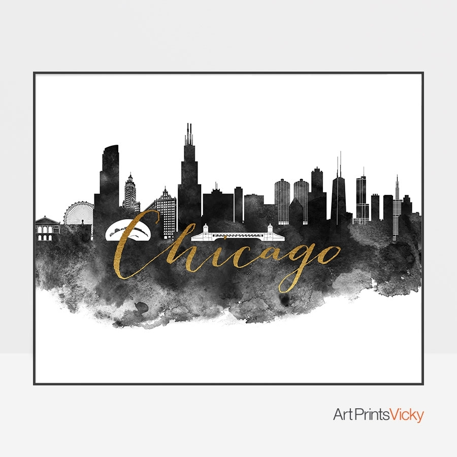 Chicago Wall Art Print Black And White | Artprintsvicky with Chicago Wall Art (Image 12 of 20)