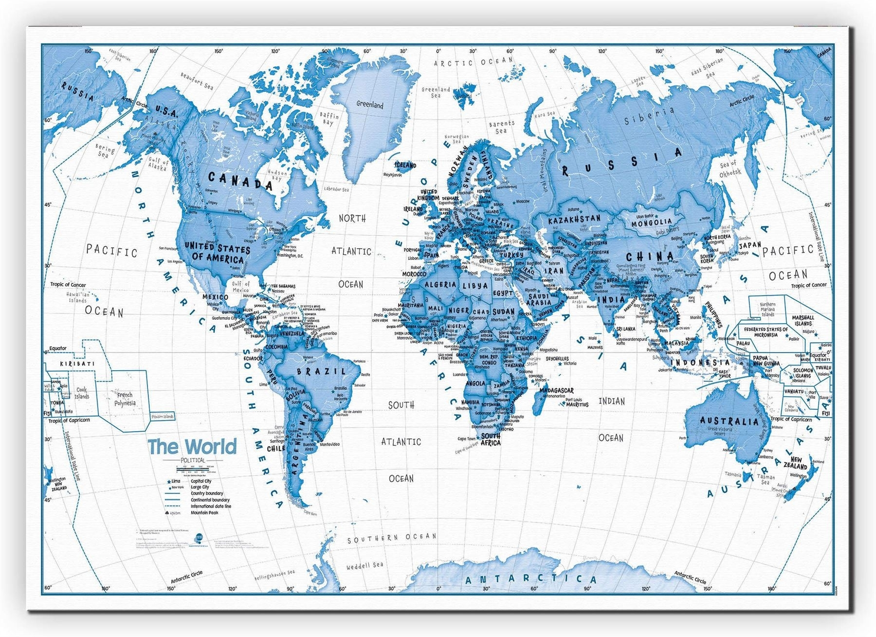 Children's Art Map Of The World Blue Poster Wall Art With Size Inside World Map Wall Art For Kids (View 12 of 20)