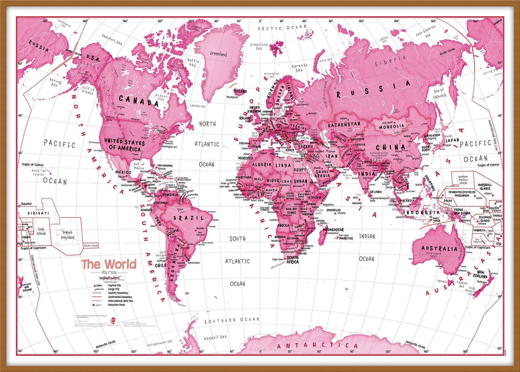 Children's Art Map Of The World Pink Poster Wall Art With Size in Pink Wall Art (Image 8 of 20)