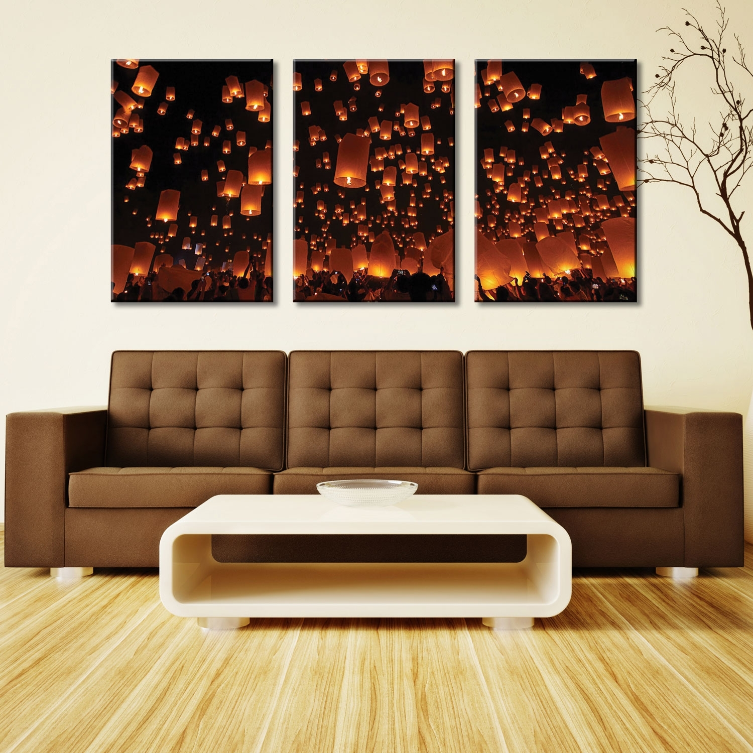 Chinese Lanterns Triptych 3 Panel Split Canvas Wall Art Picture Intended For Triptych Wall Art (View 17 of 20)