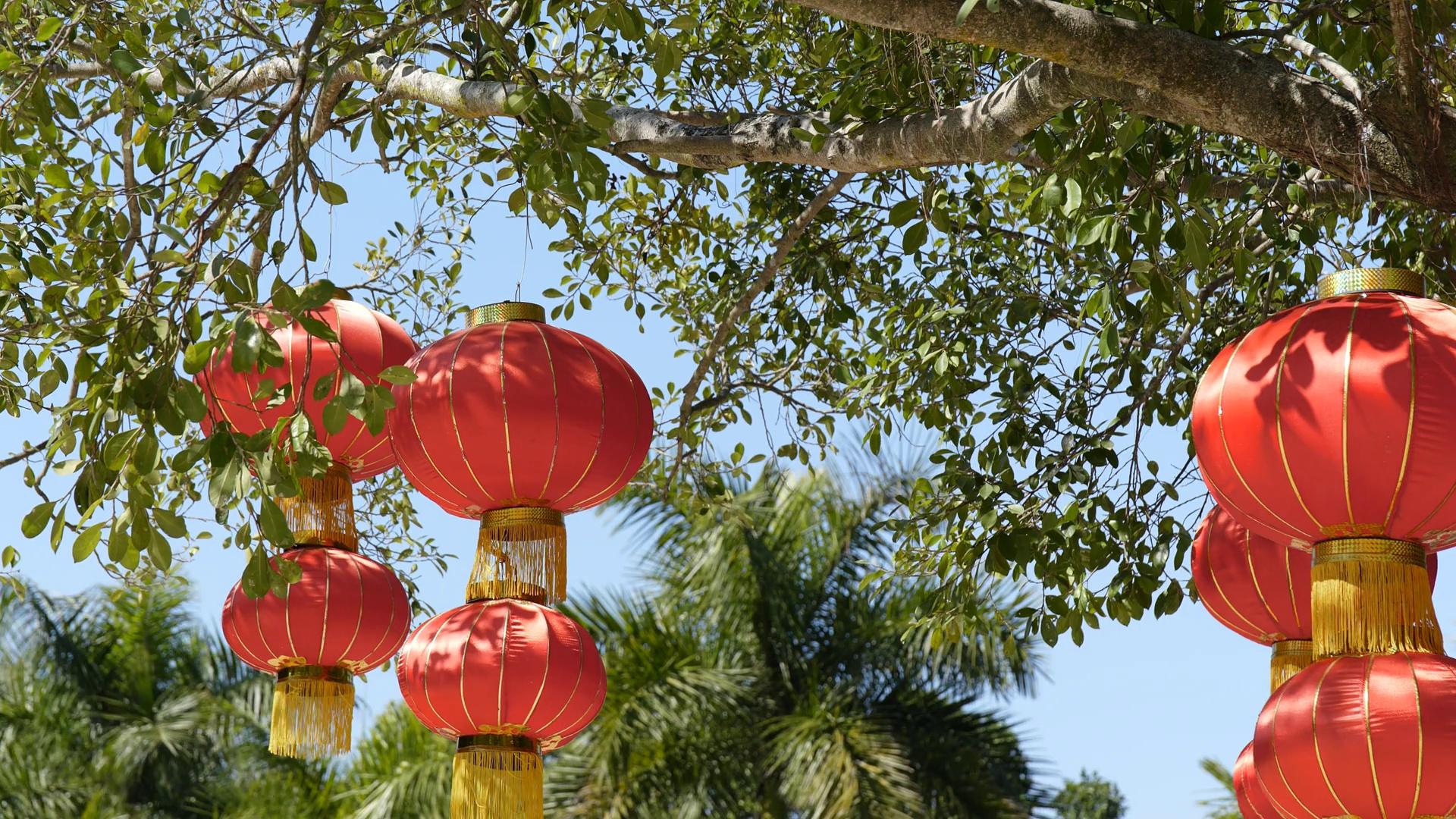 Chinese Red Lantern Hanging At Outdoor Stock Video Footage - Videoblocks regarding Outdoor Oriental Lanterns (Image 3 of 20)