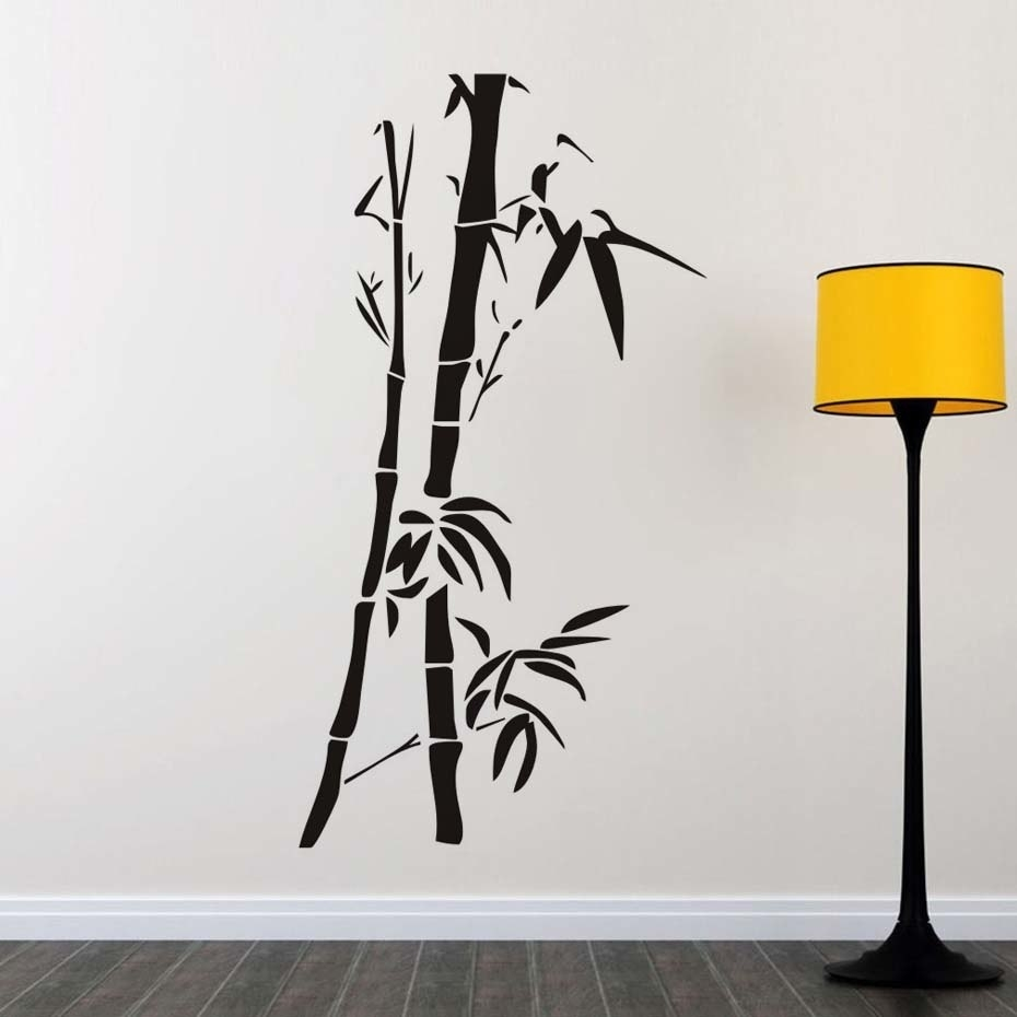 Chinese Wall Art Bamboo Wall Stickers For Living Room Wall Decor Intended For Bamboo Wall Art (View 6 of 20)