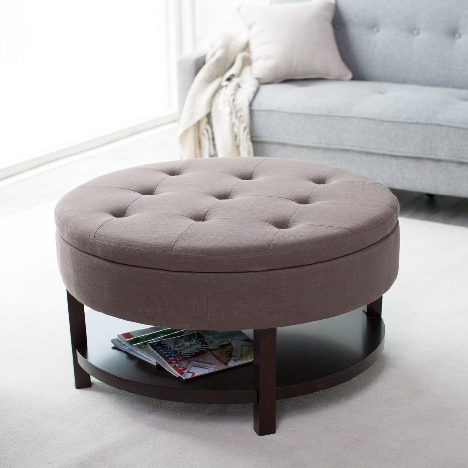 Circle Ottoman With Storage Custom — Cape Atlantic Decor : Tips within Elba Ottoman-Coffee Tables (Image 7 of 30)