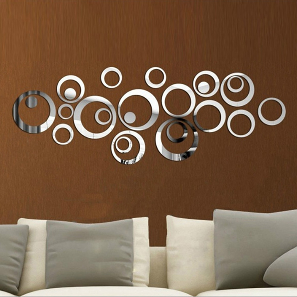 Circles 3D Wall Mirror Stickers Vinyl Wall Sticker Diy Living Within Circle Wall Art (View 9 of 20)