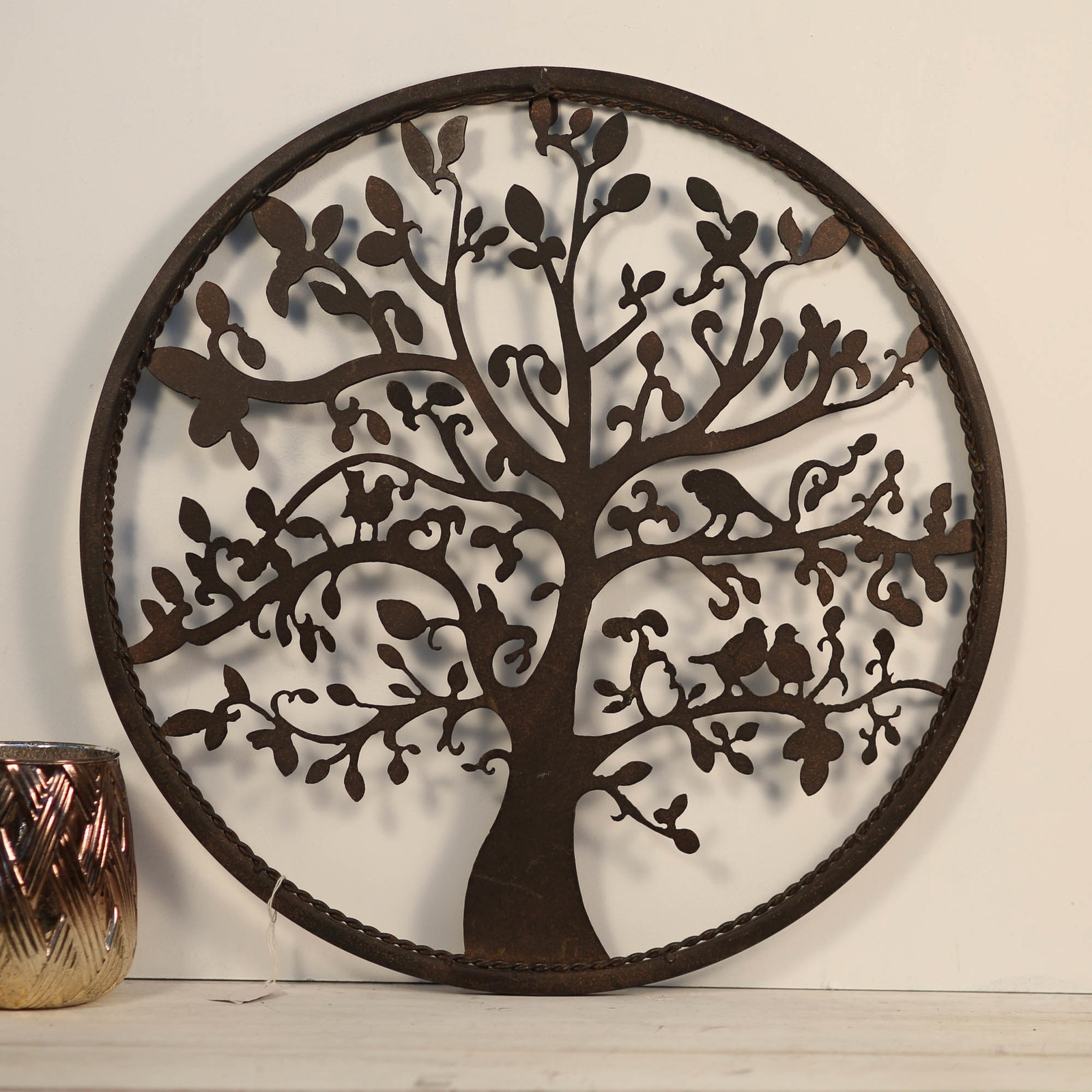 Circular Tree Of Life – Floating Punched Metal Wall Art Hanging Regarding Circle Wall Art (View 10 of 20)