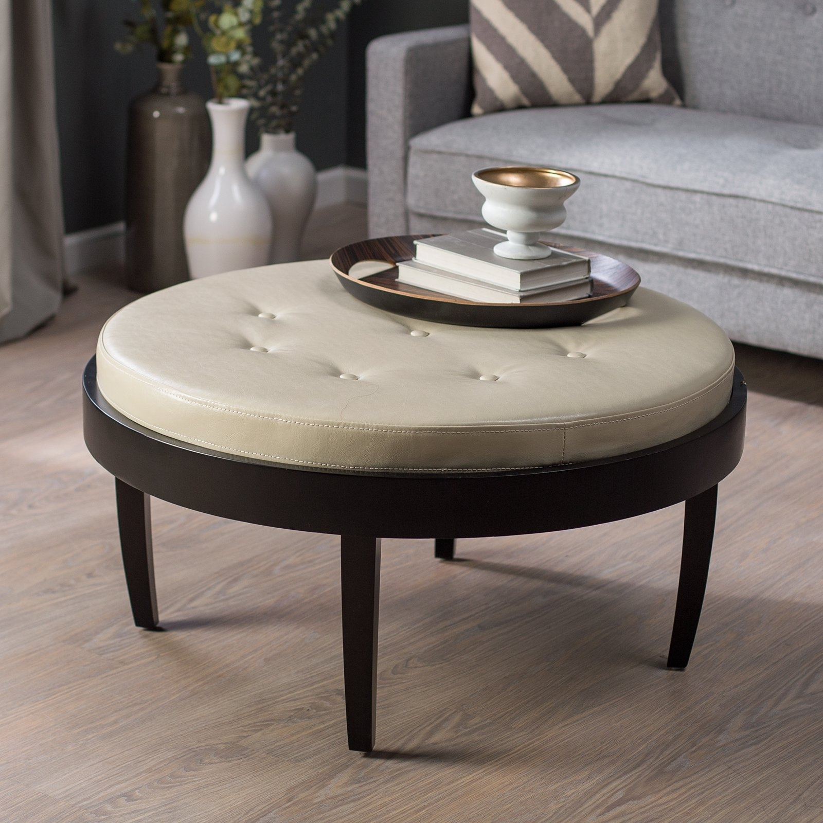 Citation Coffee Table Ottoman With Removable Cushion - Walmart for Round Button Tufted Coffee Tables (Image 6 of 30)