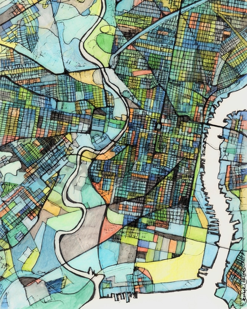 City Map For Sale Online Abstract Art Print Of Philadelphia Pa Intended For Philadelphia Map Wall Art (View 13 of 20)