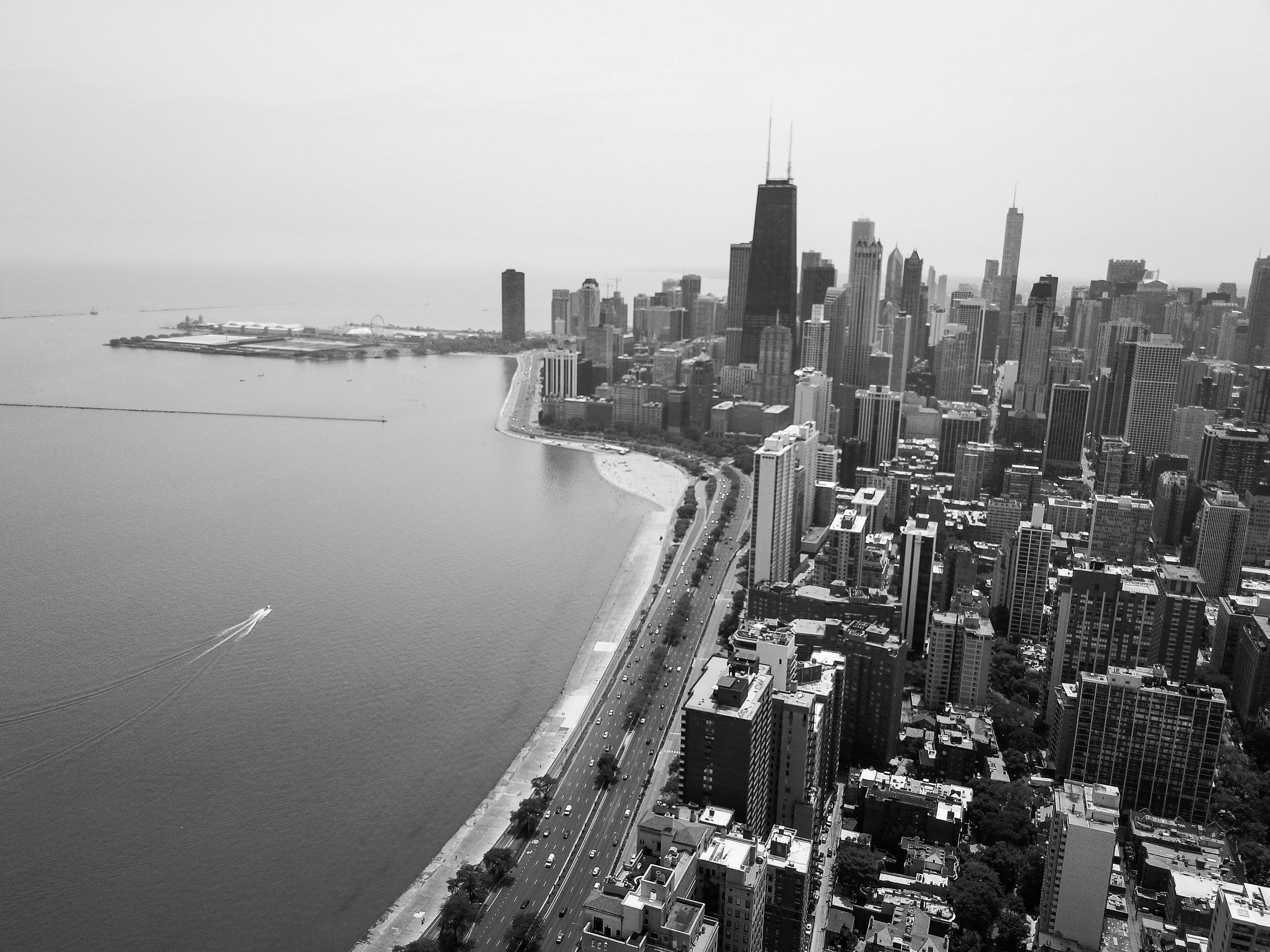 City Skyline (Black & White)- Chicago, Wall Art, Chicago Art throughout Chicago Wall Art (Image 13 of 20)