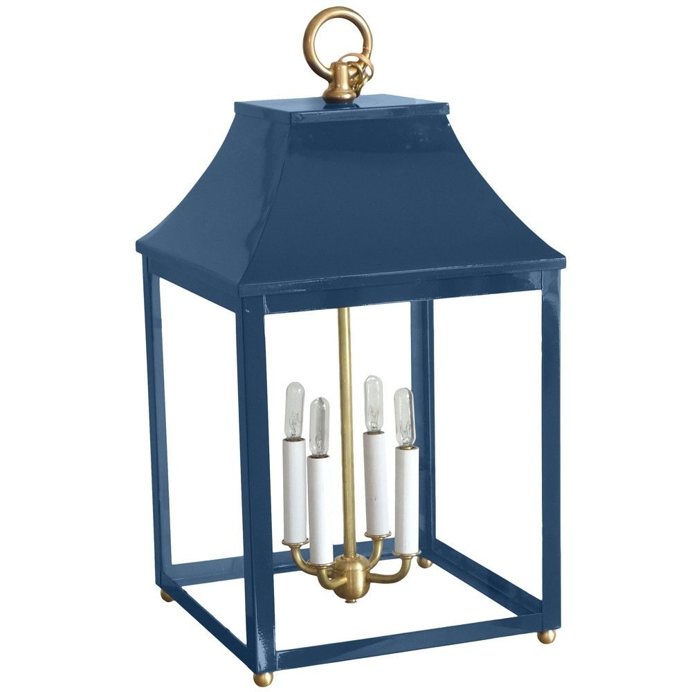 Classic Lacquered Indoor/outdoor Lantern - Blue | Macnaughton inside Blue Outdoor Lanterns (Image 7 of 20)
