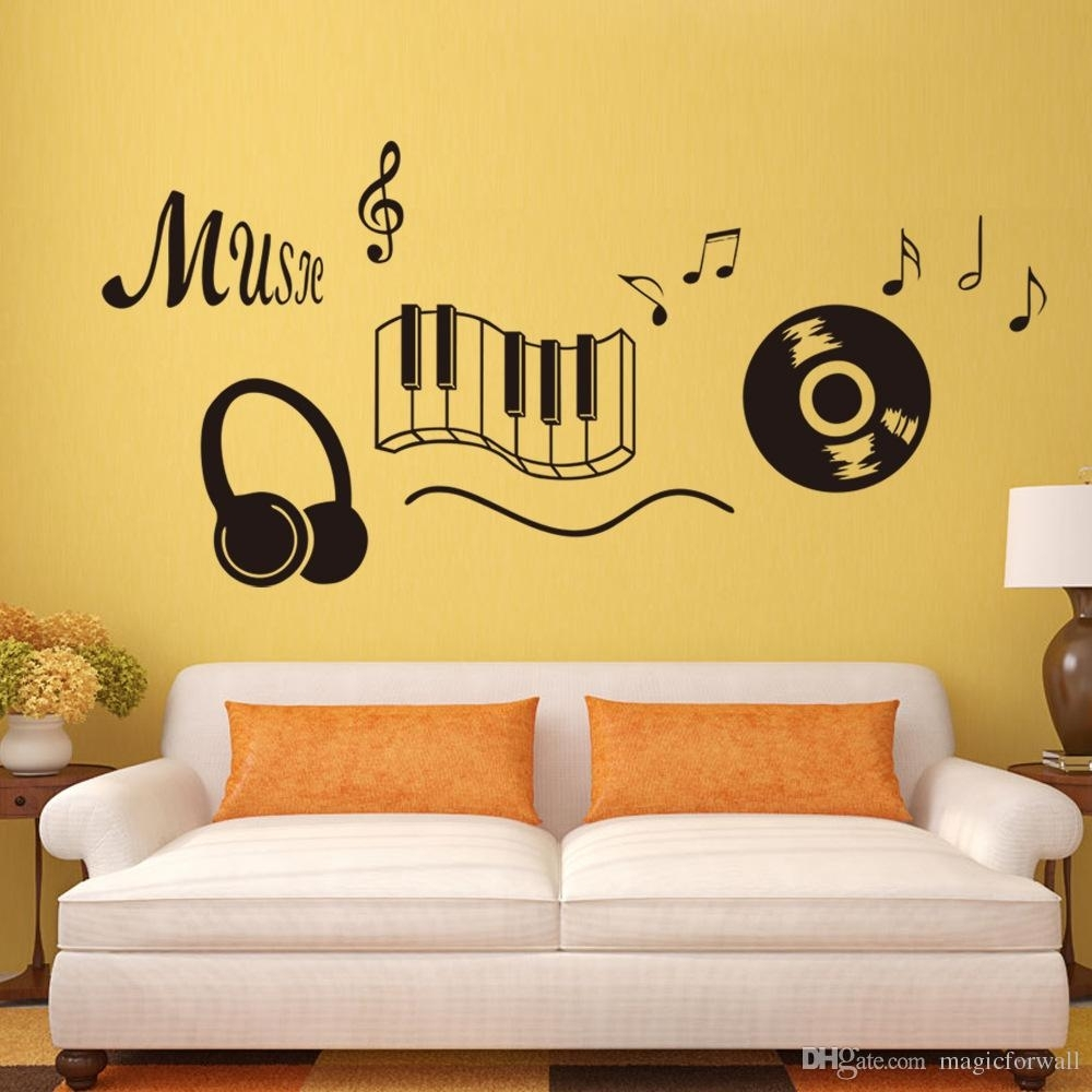 Classic Record Earphone Piano Music Wall Art Mural Decal Living Room pertaining to Music Wall Art (Image 3 of 20)
