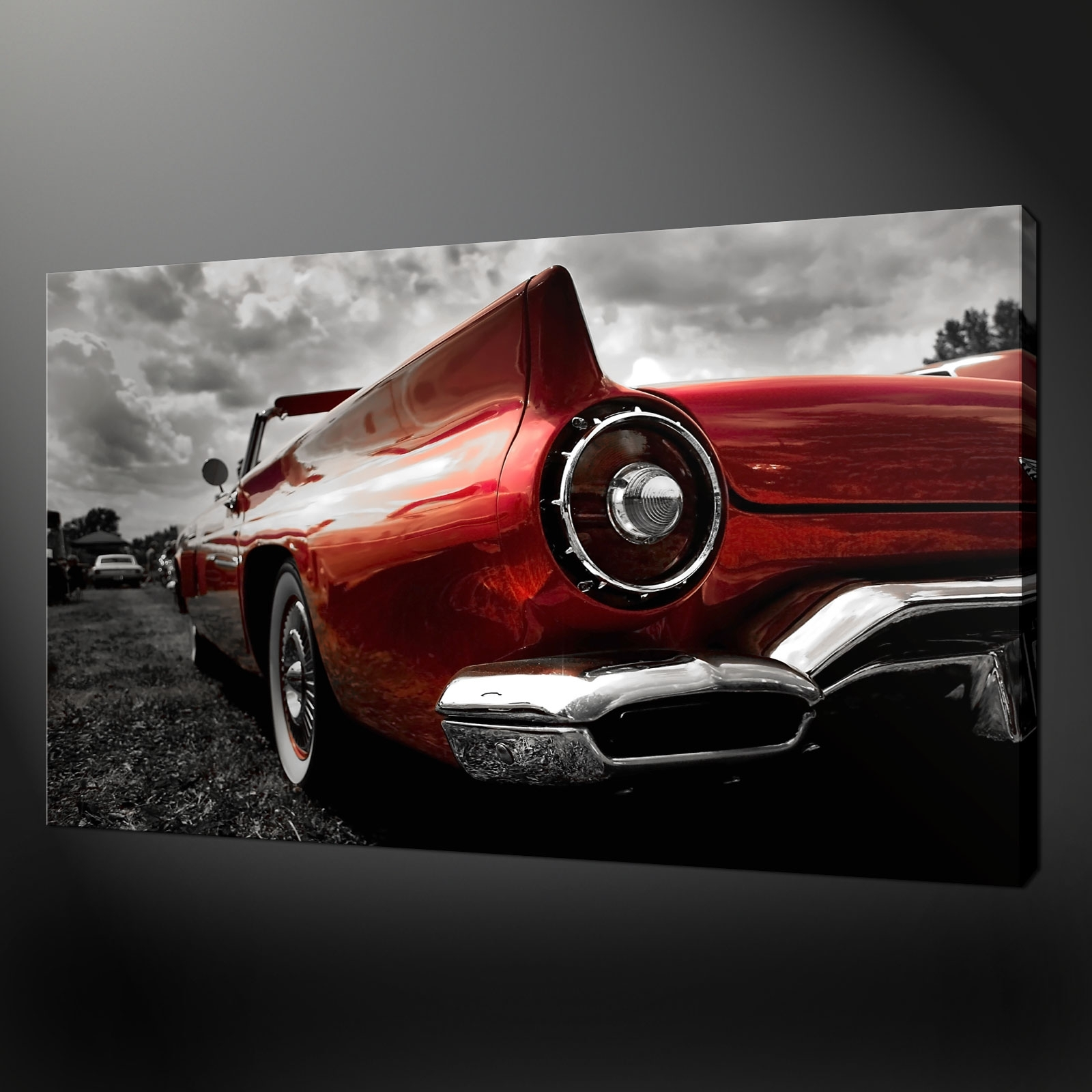 Classic Red Car Canvas Print Picture Wall Art regarding Car Canvas Wall Art (Image 16 of 20)