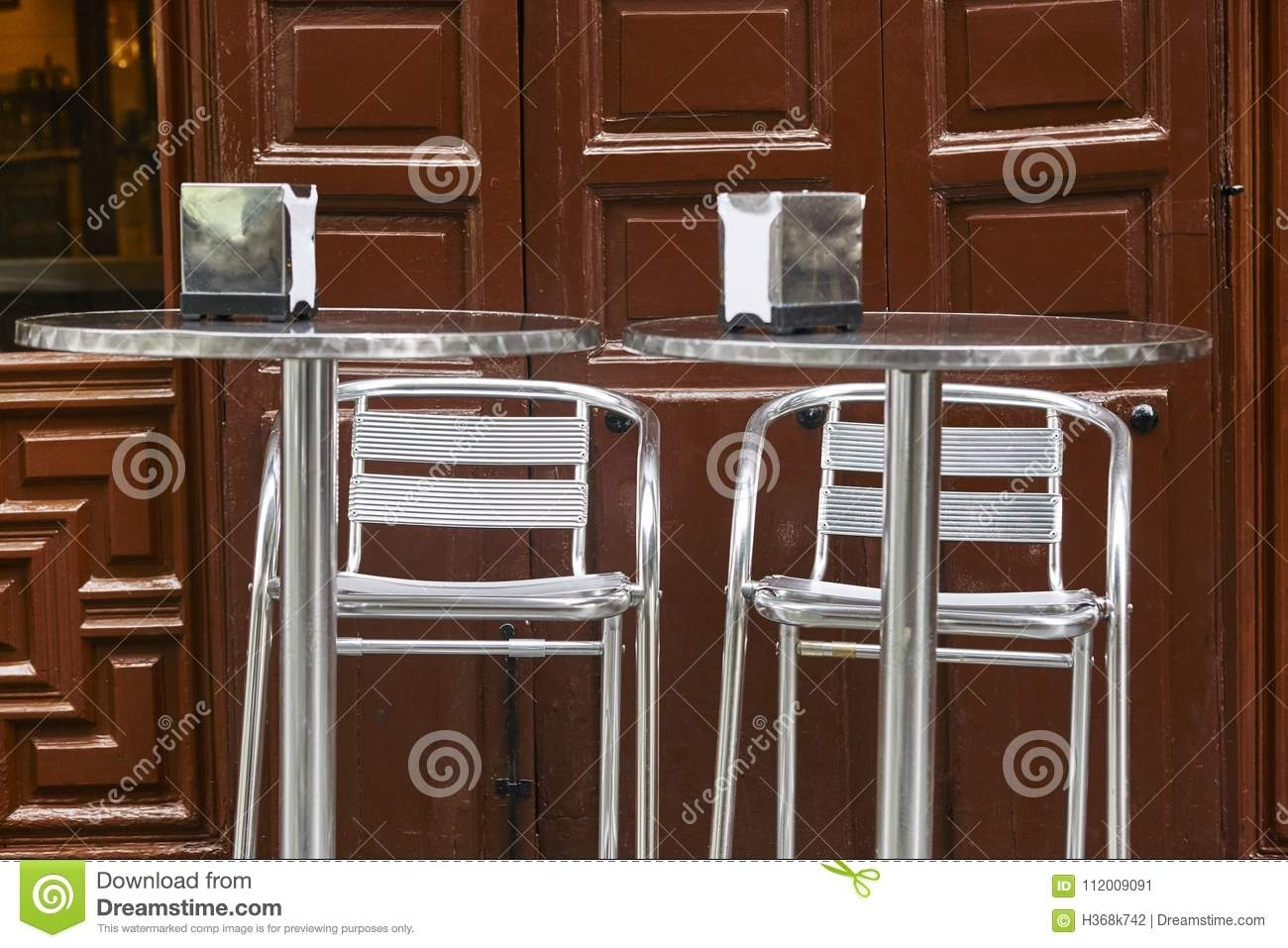 Classic Spanish Coffee Shop. Metallic Tables And Chairs (View 8 of 30)
