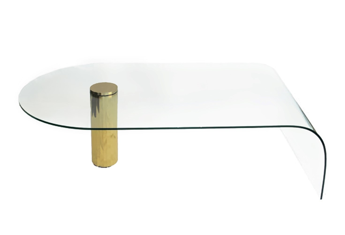 Clear Minimalist Contemporary Glass Waterfall Coffee Table With throughout Waterfall Coffee Tables (Image 6 of 30)