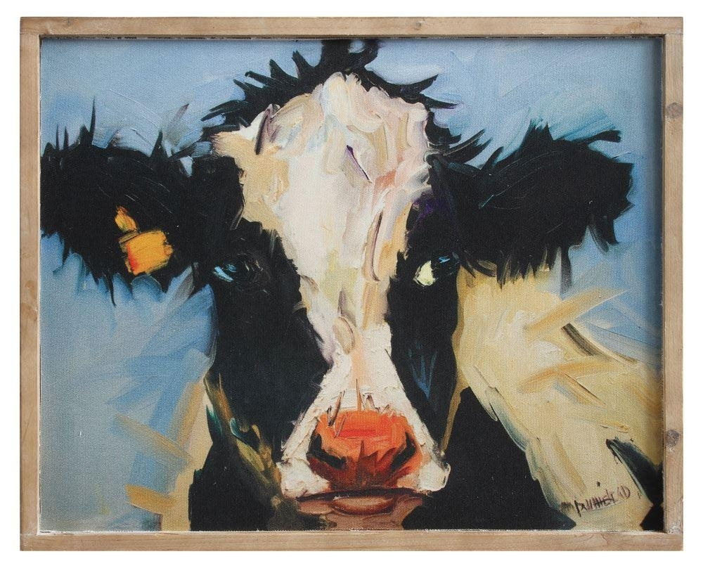 Clementine The Cow Framed Canvas Print – Gin Creek Kitchen Intended For Cow Canvas Wall Art (View 9 of 20)