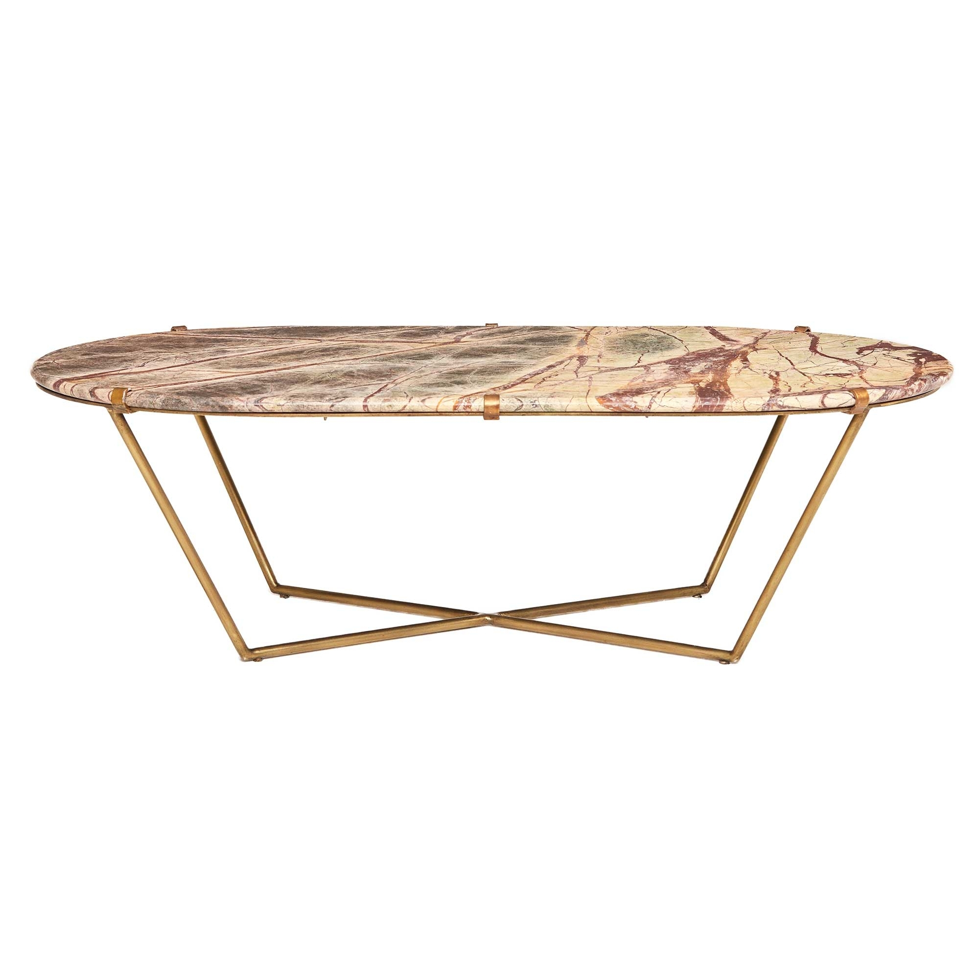 Clipper Coffee Table, Antique Brass And Variegated Veined Marble pertaining to Parker Oval Marble Coffee Tables (Image 2 of 30)