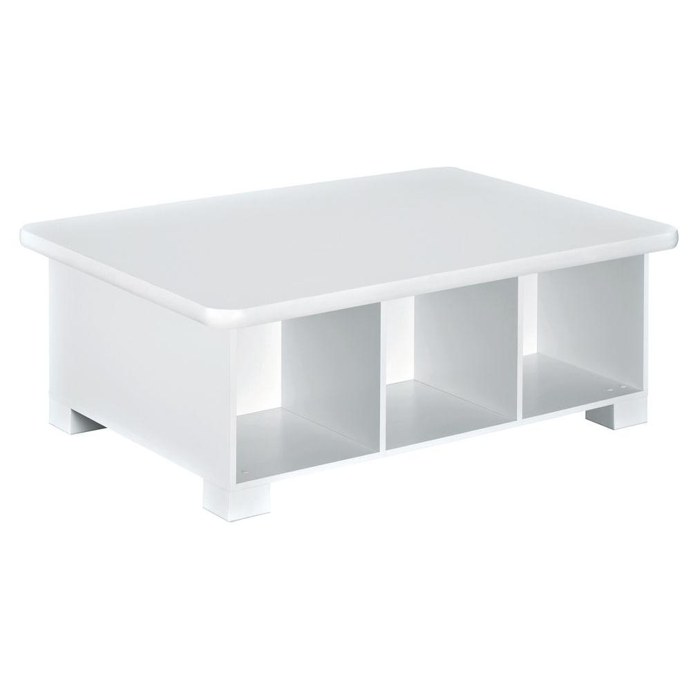 Closetmaid 40 In. W X 15 In. H White 6-Cube Activity Table-1599 with regard to Go-Cart White Rolling Coffee Tables (Image 10 of 30)