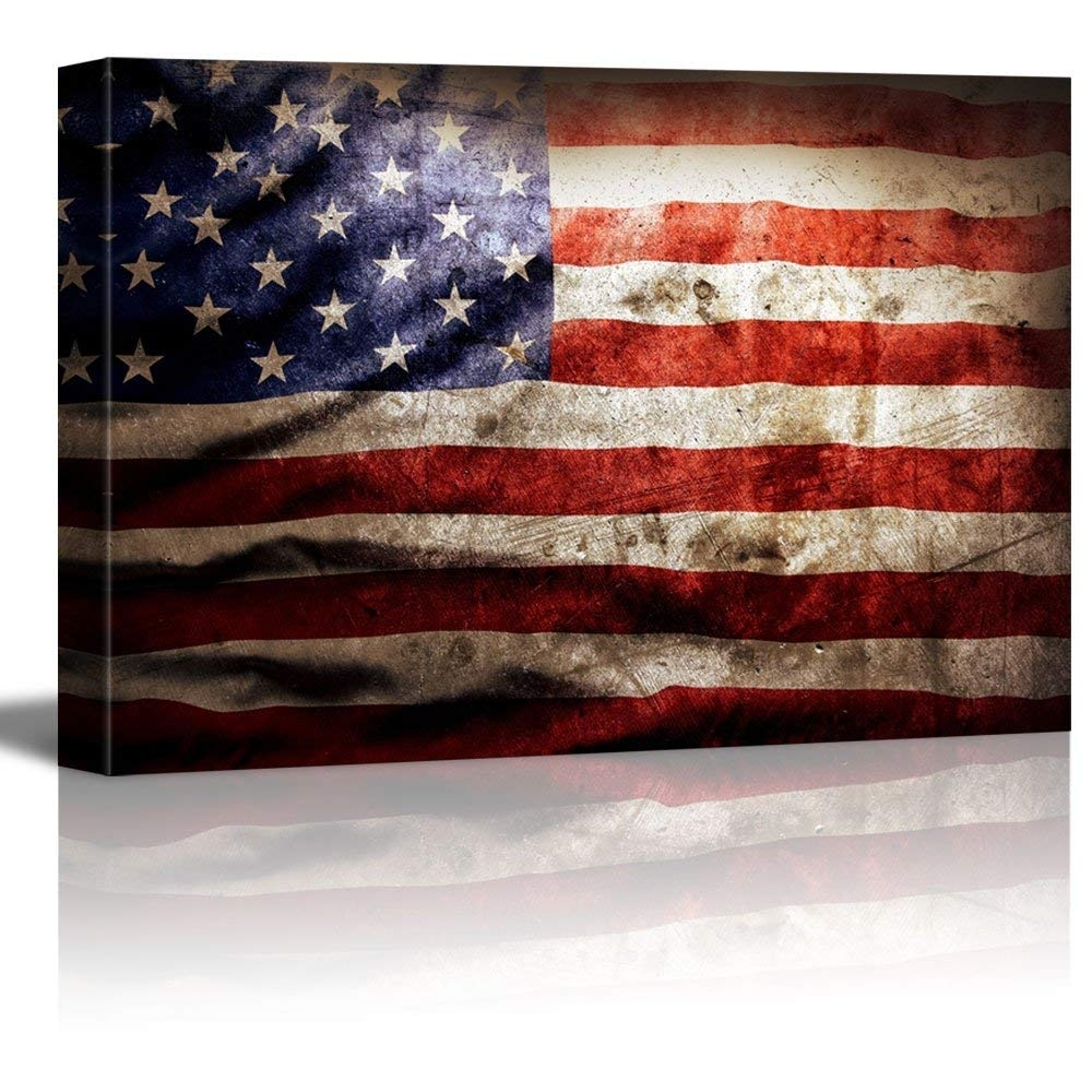 Closeup Of Grunge American Flag Vintage Retro Style Patriotic within Vintage American Flag Wall Art (Image 7 of 20)