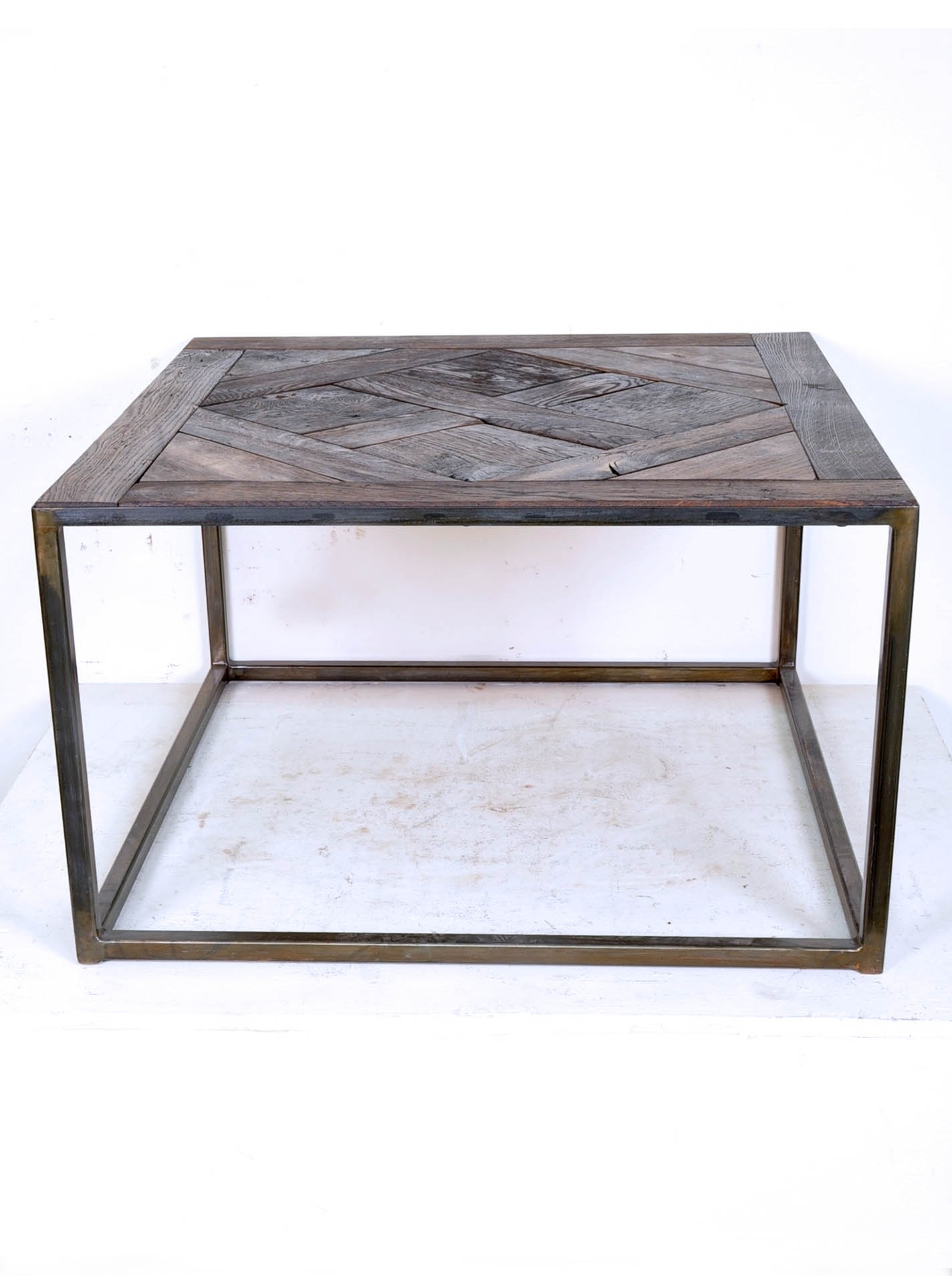 Coffee Table Composed Of Reclaimed Antique French Oak Parquet Top within Parquet Coffee Tables (Image 6 of 30)