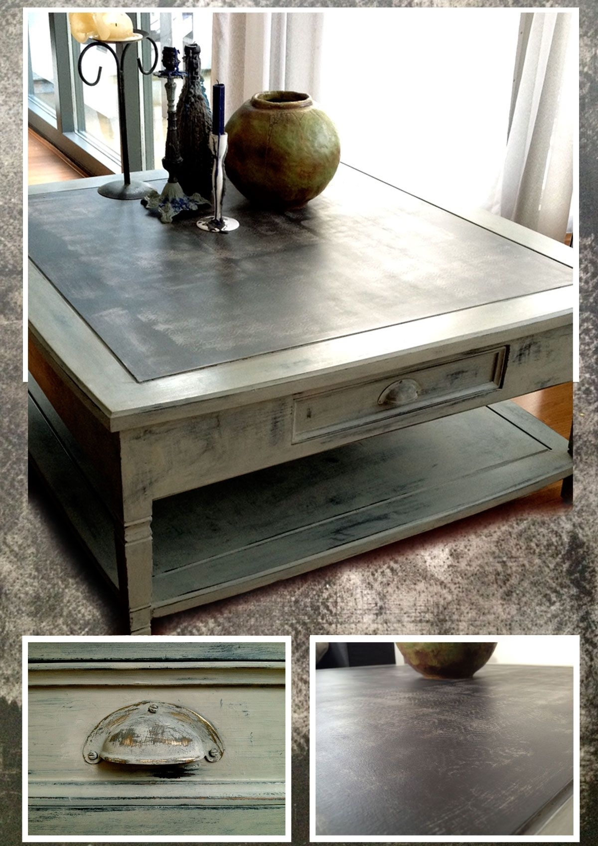 Coffee Table In Black, Green-Ish Grey And Taupe. Chalk Painted for Batik Coffee Tables (Image 11 of 30)