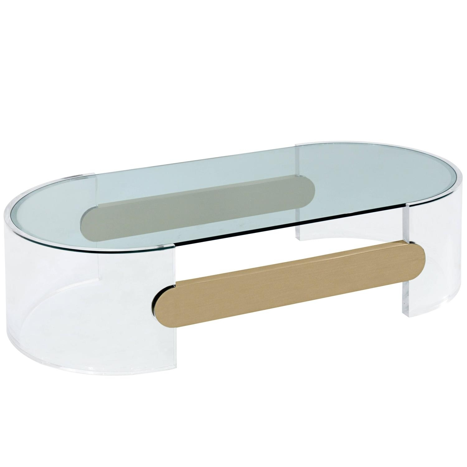 Coffee Table In Lucite With Brushed Brass Stretchersraymond throughout Acrylic & Brushed Brass Coffee Tables (Image 4 of 20)