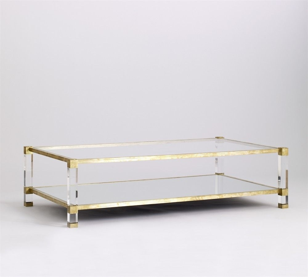 Coffee Table, Lucite, Brass | Tables: Coffee, Side, Dining in Acrylic & Brushed Brass Coffee Tables (Image 5 of 20)