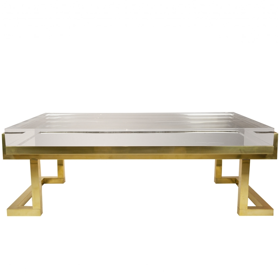 Coffee Table. Lucite Coffee Table: Brass And Lucite Coffee Table inside Acrylic Glass And Brass Coffee Tables (Image 11 of 30)