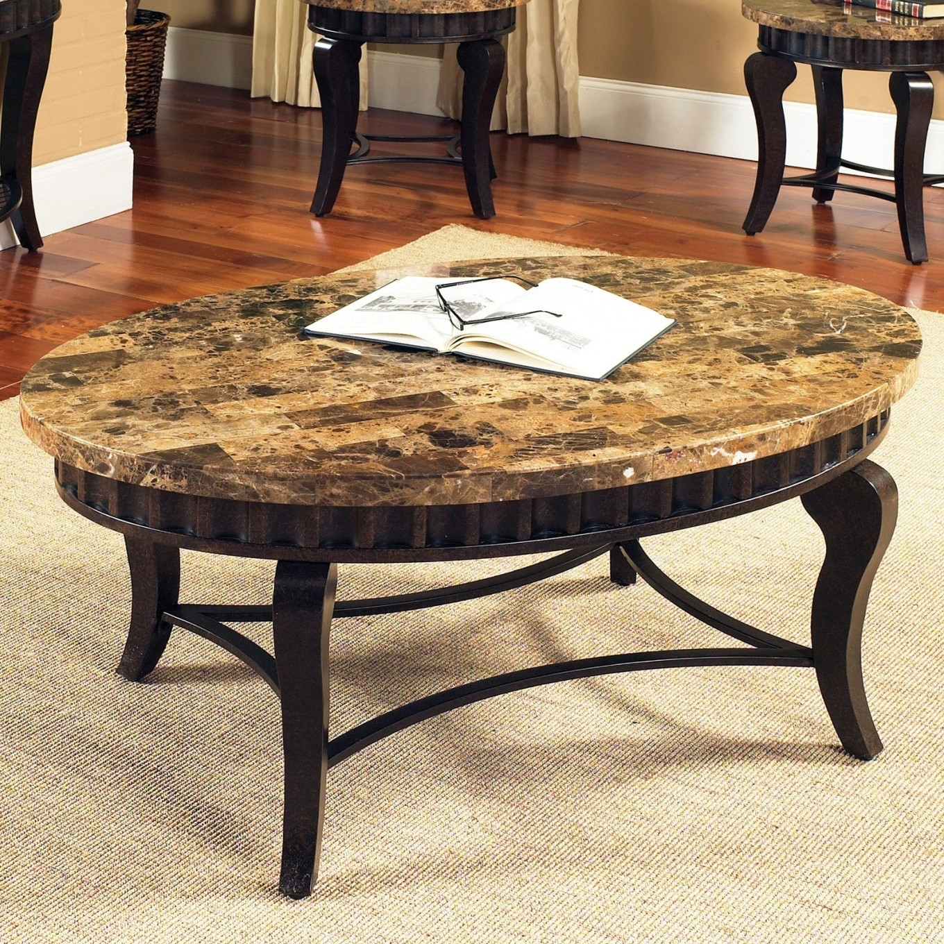 Coffee Table : Round Glass Coffee Table Glass Top Coffee Table For Regarding Stone Top Coffee Tables (View 6 of 30)