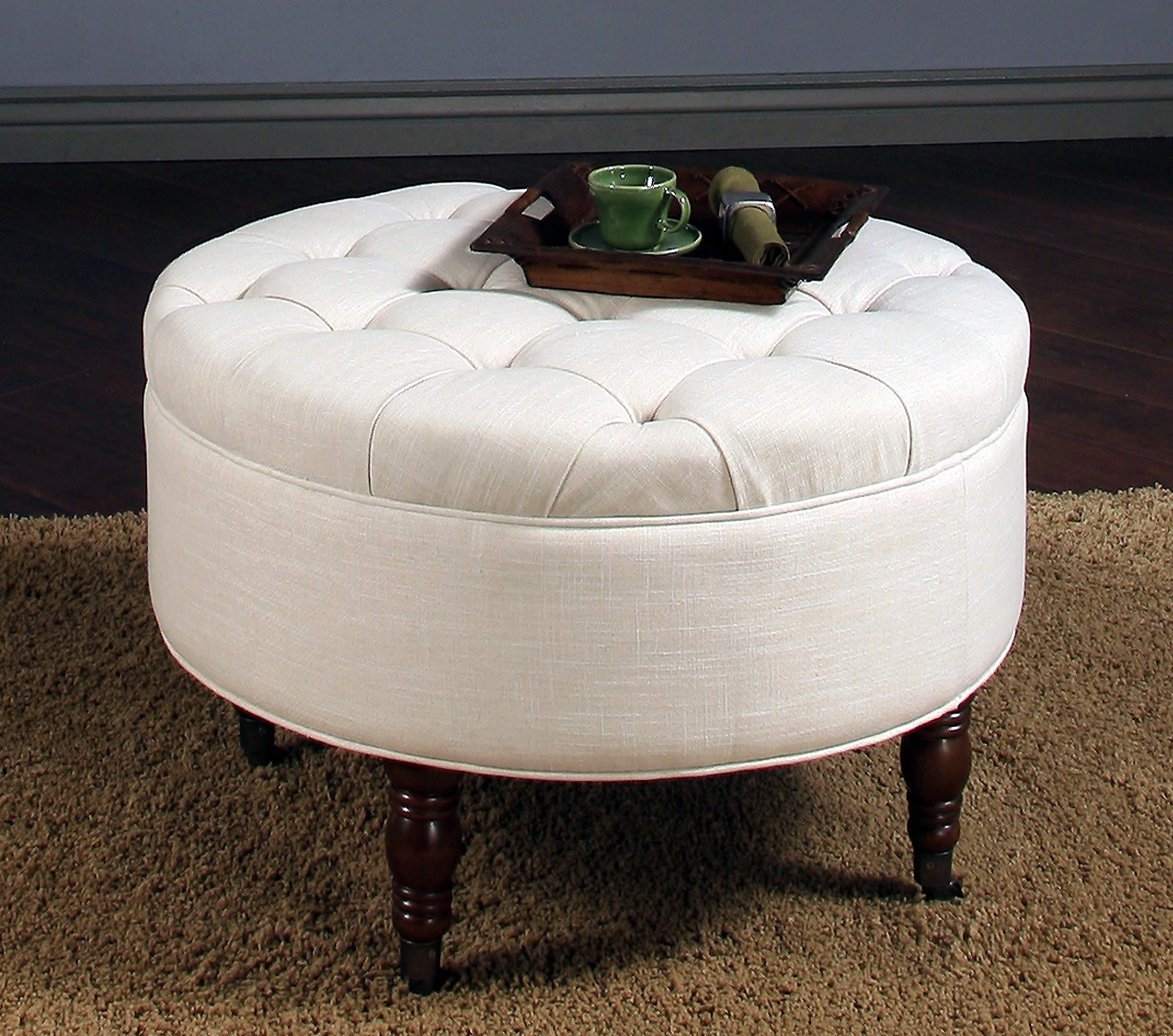 Coffee Table: Round Tufted Storage Ottoman Coffee Table Design How for Button Tufted Coffee Tables (Image 7 of 30)
