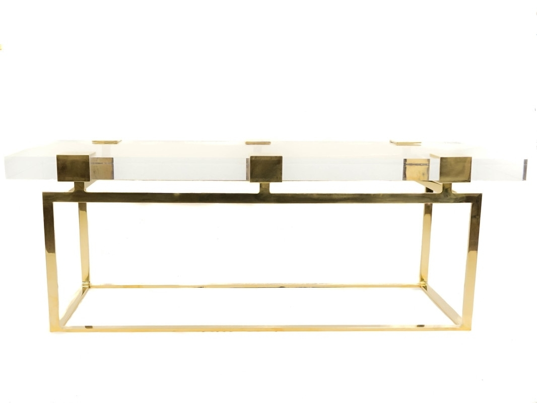 Collections - Custom Drapery, Fine Metal And Acrylic Hardware with Acrylic & Brushed Brass Coffee Tables (Image 6 of 20)