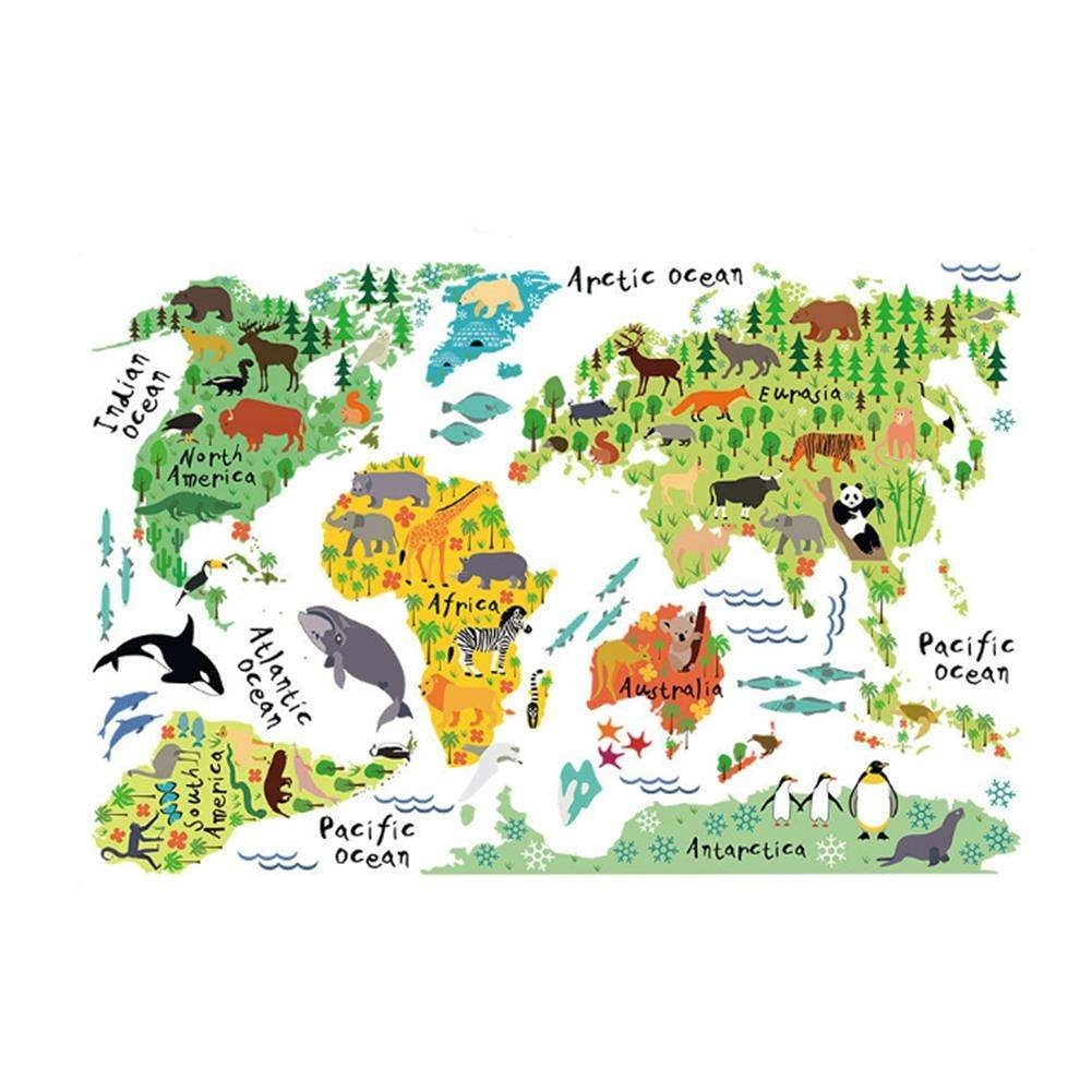 Colorful Animal World Map Sticker Kids Home Decor Diy Room Wall Art Pertaining To World Map Wall Art For Kids (View 15 of 20)