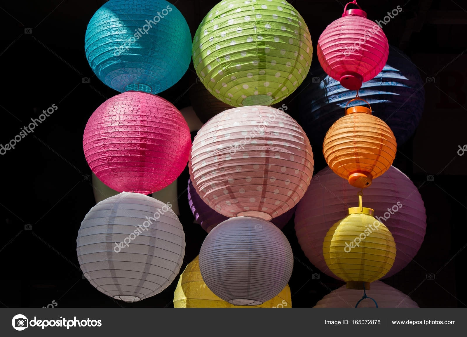 Colorful Paper Lantern Outdoor In A Marketplace — Stock Photo for Outdoor Paper Lanterns (Image 4 of 20)