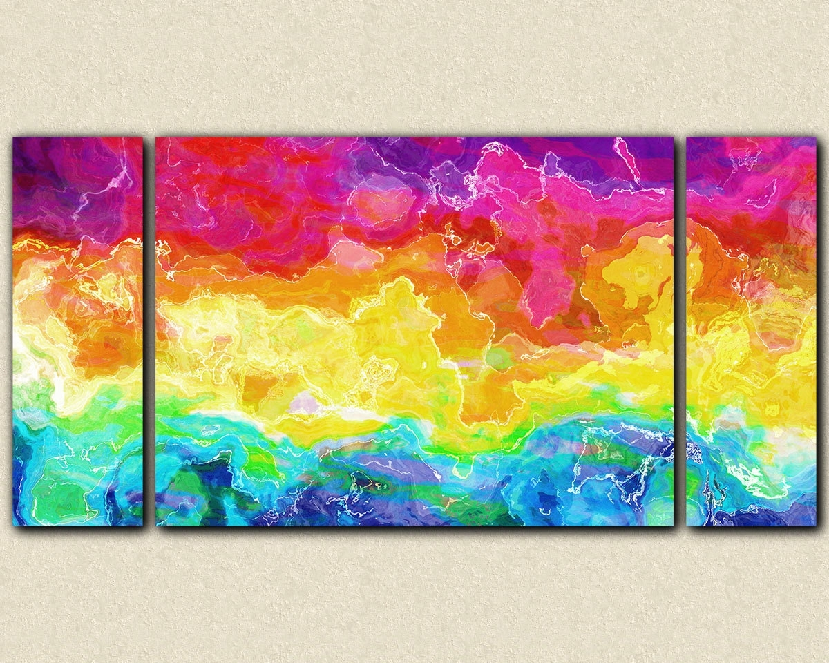 Colorful Wall Art Paintings Gorgeous Large Colorful Wall Art 23 throughout Colorful Wall Art (Image 7 of 20)