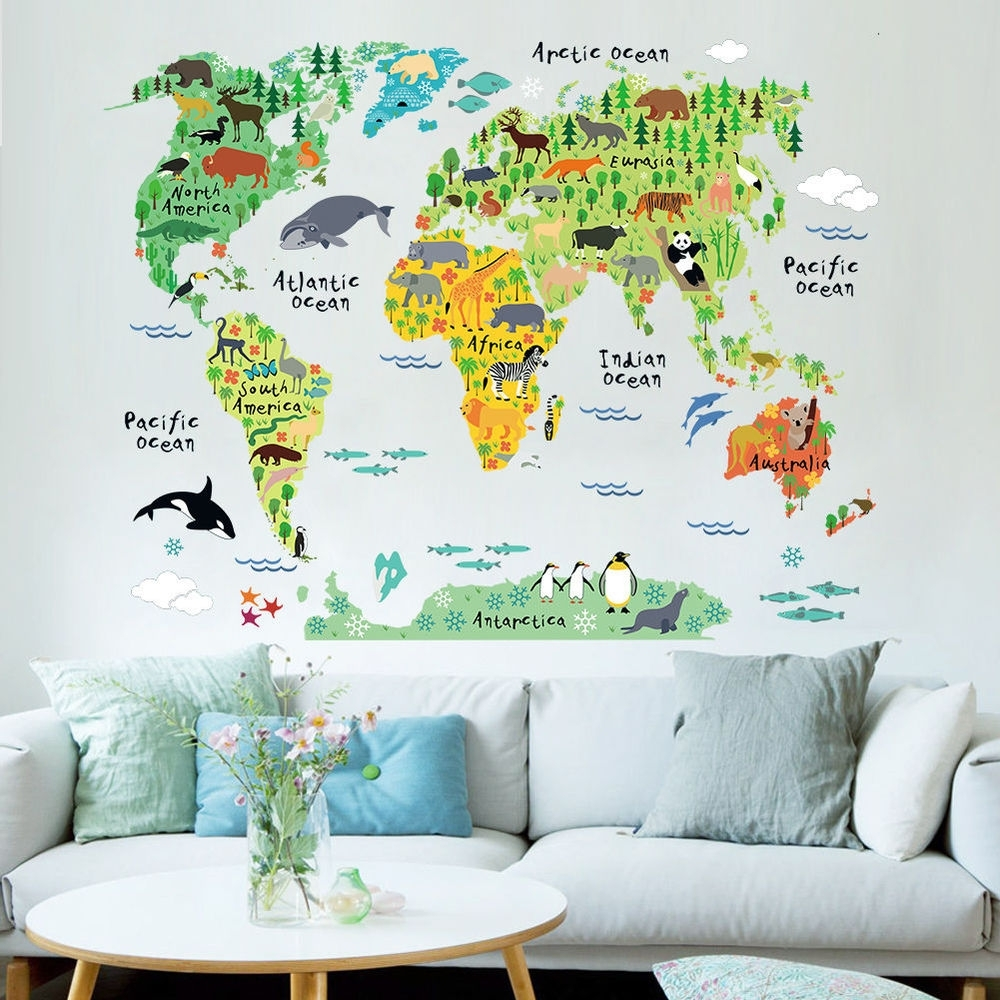Colorful World Tube Animal Zone Map Wall Sticker Decal Vinyl Mural In Tube Map Wall Art (View 14 of 20)