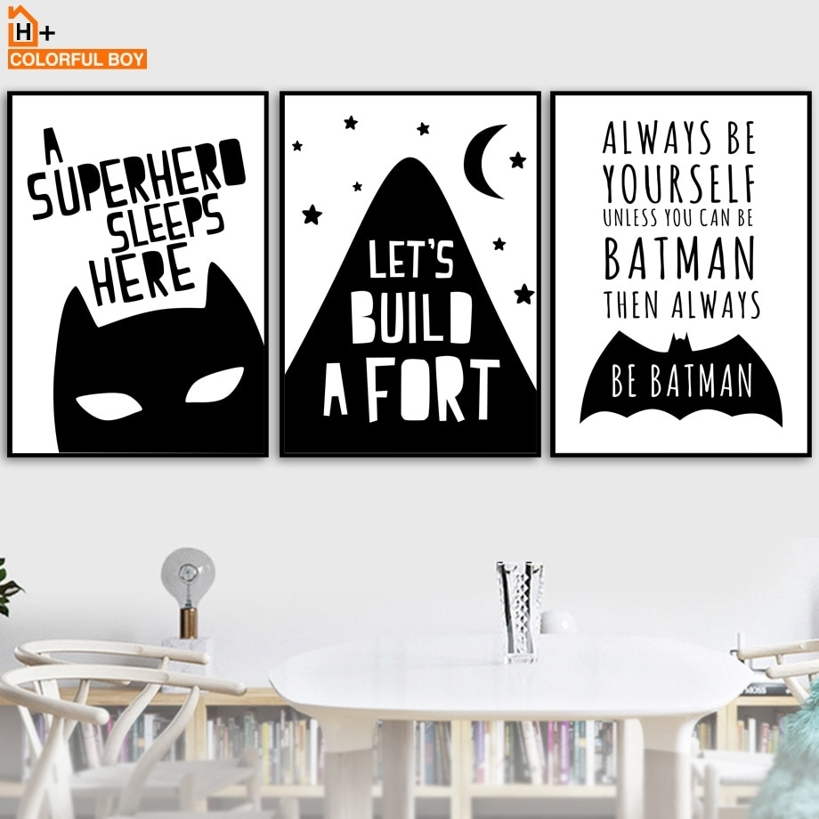 Colorfulboy Batman Wall Art Print Canvas Painting Black White With Batman Wall Art (View 10 of 20)