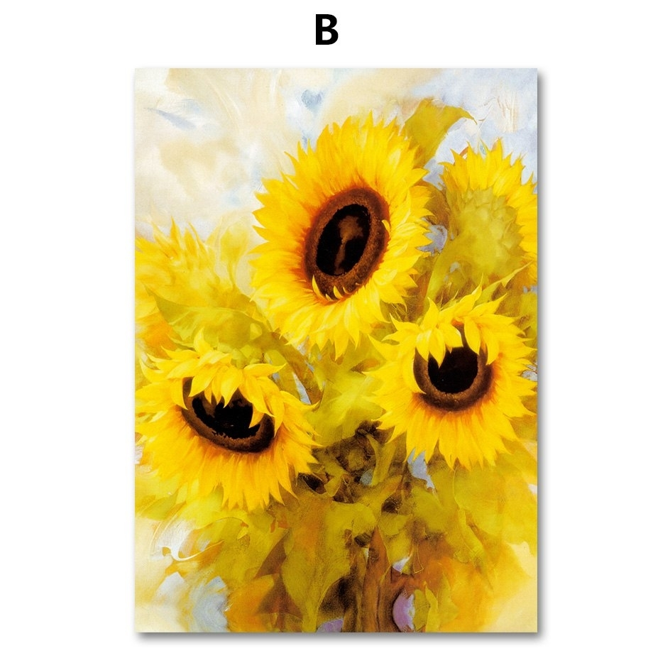 Colorfulboy Nordic Print Poster Blooming Sunflower Wall Art Canvas intended for Sunflower Wall Art (Image 7 of 20)