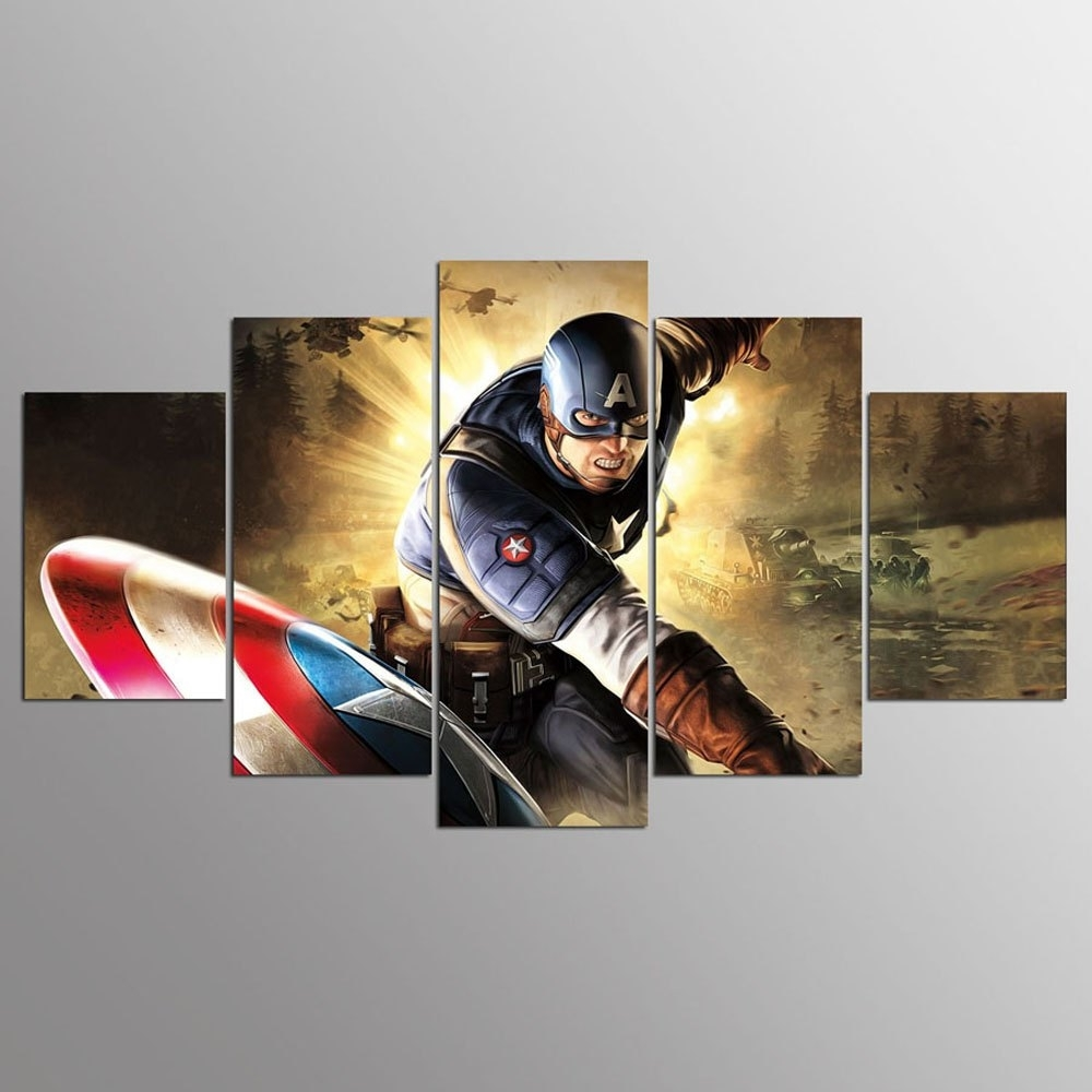 Colormix 30X40Cmx2+30X60Cmx2+30X80Cmx1(12X16Inchx2+12X24Inc Ysdafen with Captain America Wall Art (Image 9 of 20)