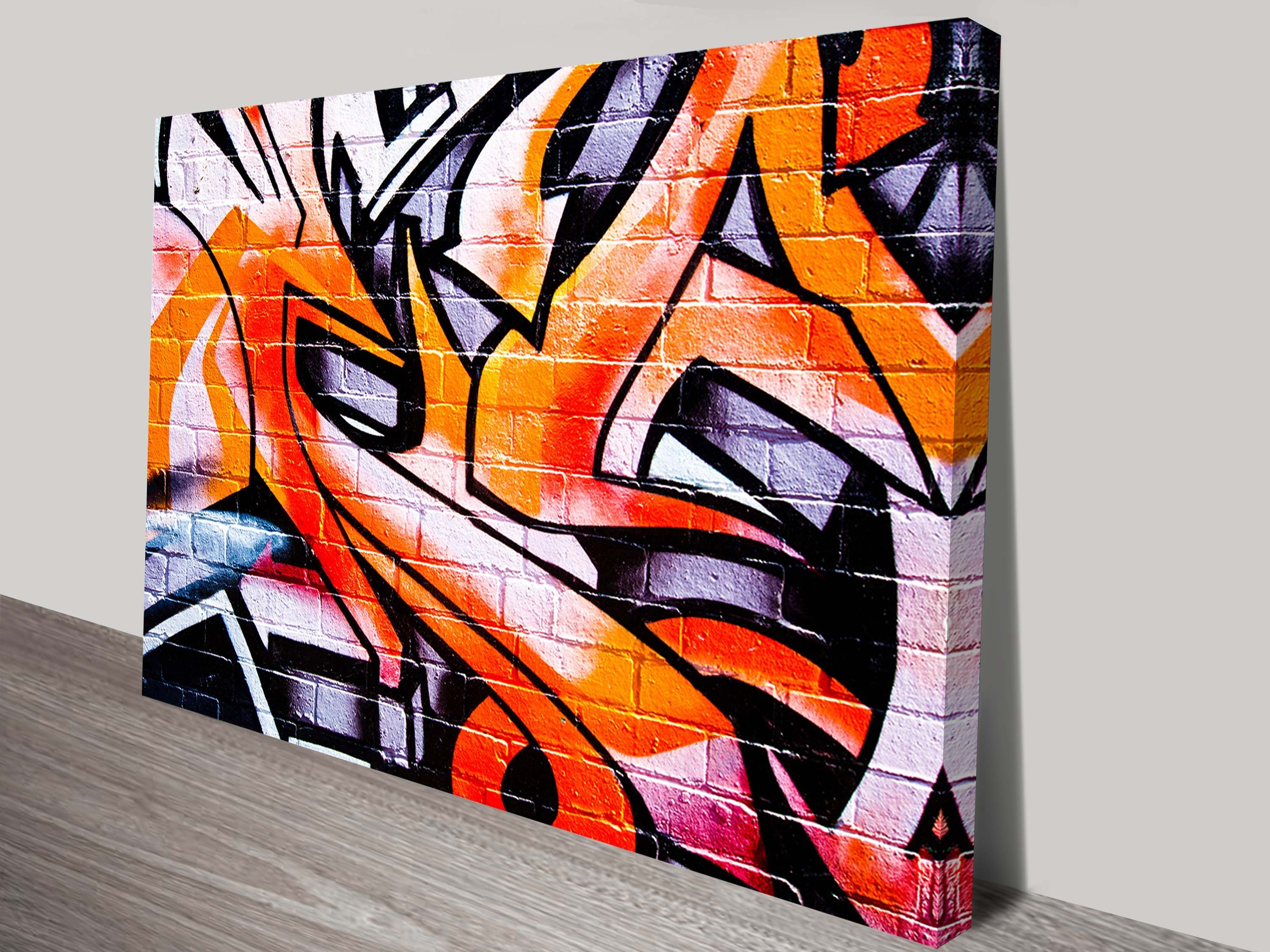 Colourful Orange Graffiti Wall Art - Canvas Prints Australia intended for Graffiti Wall Art (Image 3 of 20)