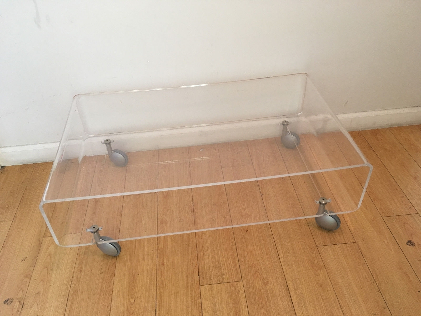 Contemporary Acrylic Plexiglass Coffee Table On Wheels – $ (View 9 of 30)