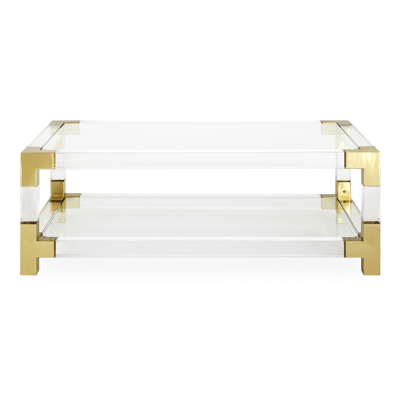 Contemporary Coffee Table / Glass / Brushed Brass / Acrylic for Acrylic & Brushed Brass Coffee Tables (Image 8 of 20)