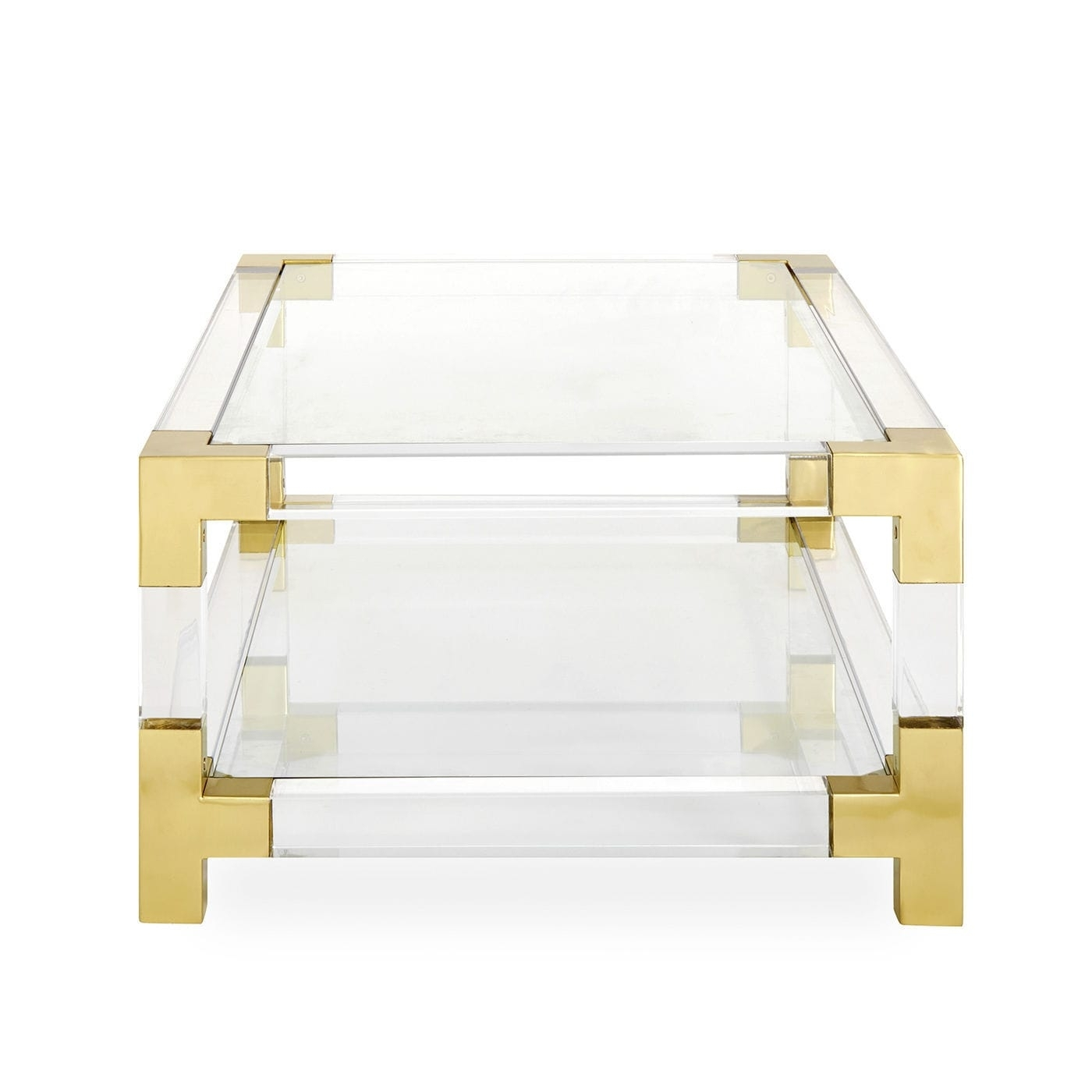 Contemporary Coffee Table / Glass / Brushed Brass / Acrylic for Acrylic & Brushed Brass Coffee Tables (Image 7 of 20)