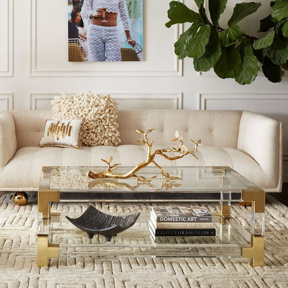 Contemporary Coffee Table / Glass / Brushed Brass / Acrylic intended for Acrylic Glass And Brass Coffee Tables (Image 13 of 30)