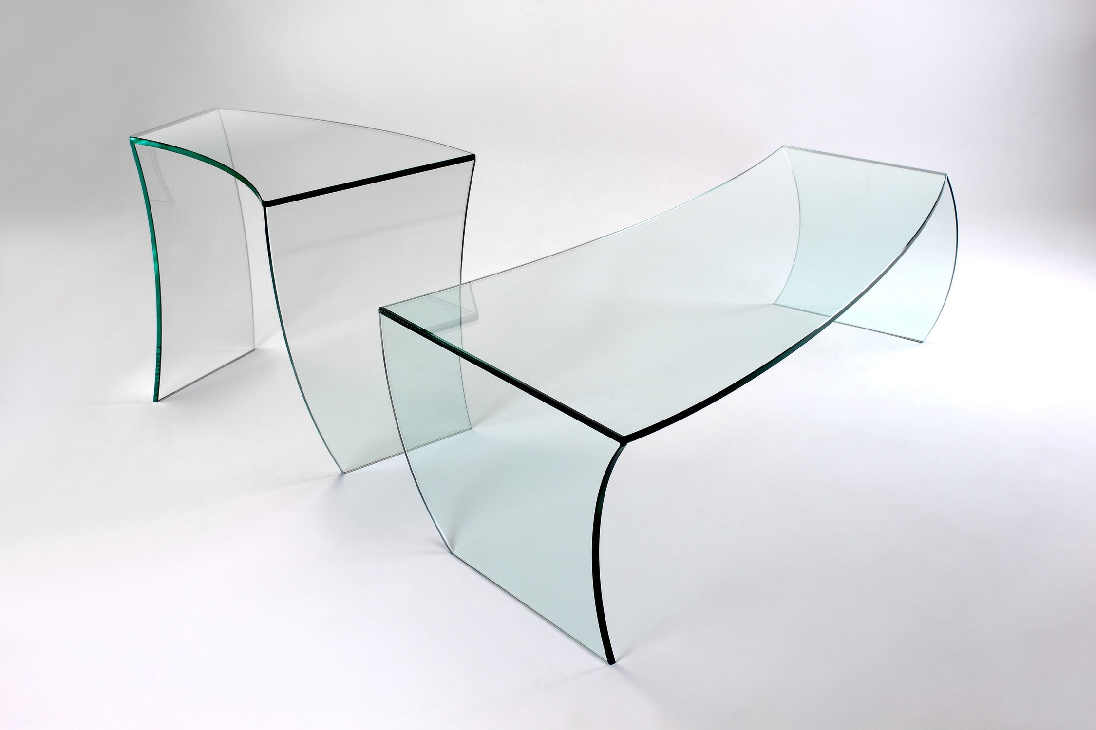 Contemporary Coffee Table / Glass / Curved – Bent Straights Intended For Contemporary Curves Coffee Tables (View 7 of 30)