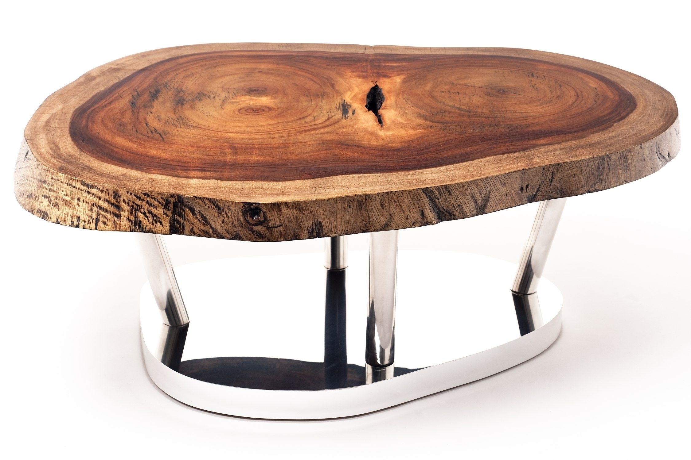 Contemporary Coffee Table / Wooden / In Reclaimed Material in Sliced Trunk Coffee Tables (Image 8 of 30)
