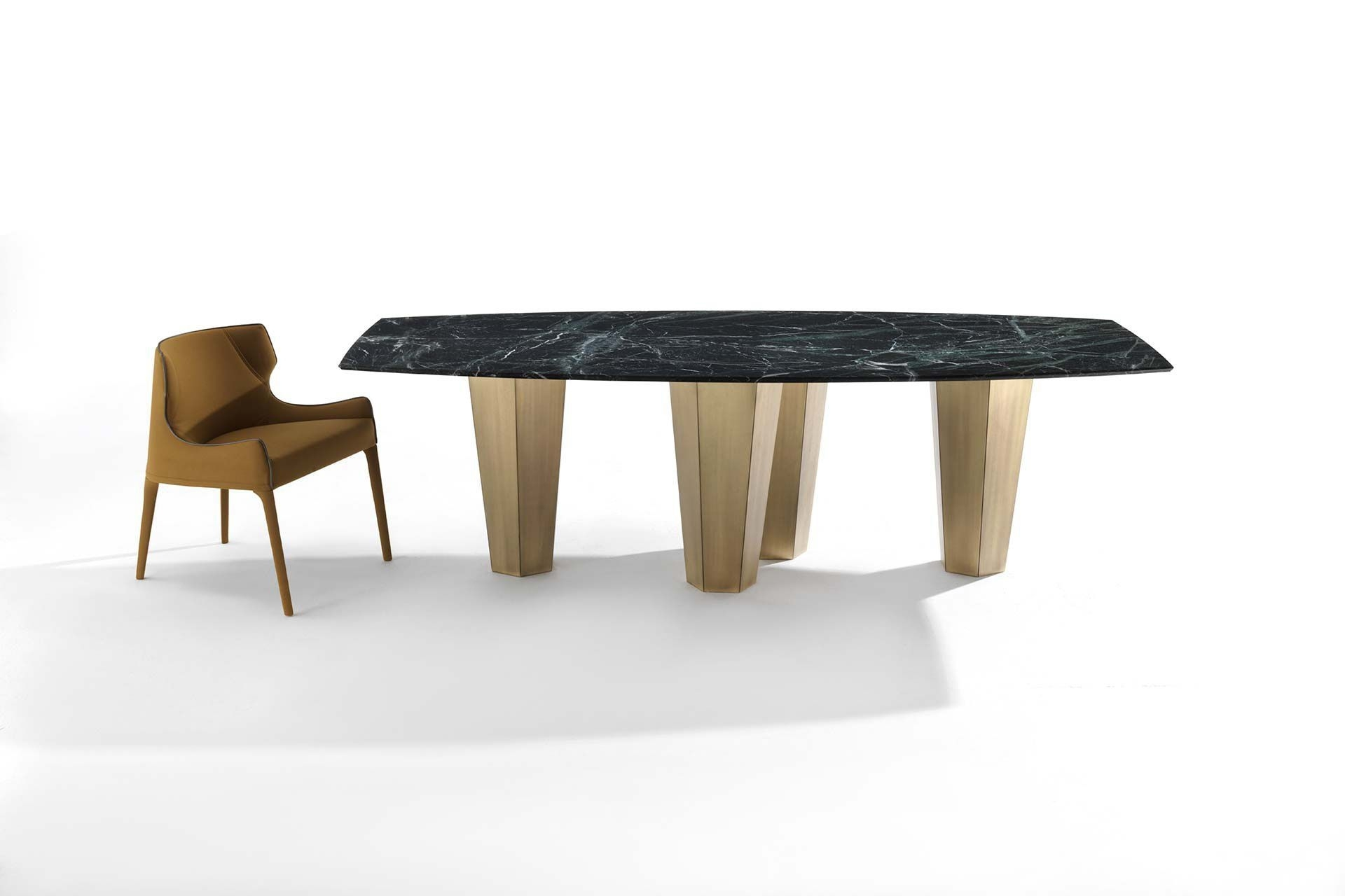 Contemporary Dining Table / Wooden / Marble / Contract - Parker with Parker Oval Marble Coffee Tables (Image 3 of 30)