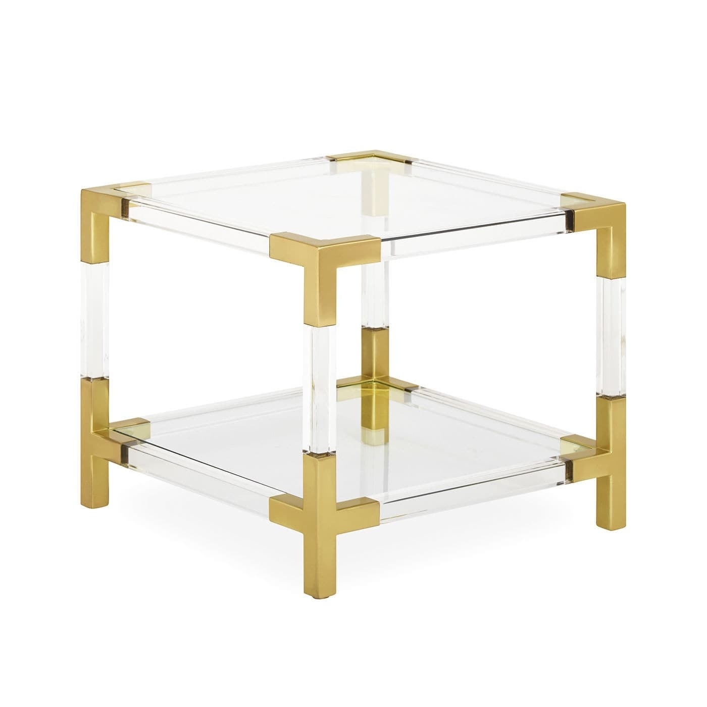 Contemporary Side Table / Glass / Brushed Brass / Acrylic - Jacques in Acrylic & Brushed Brass Coffee Tables (Image 10 of 20)