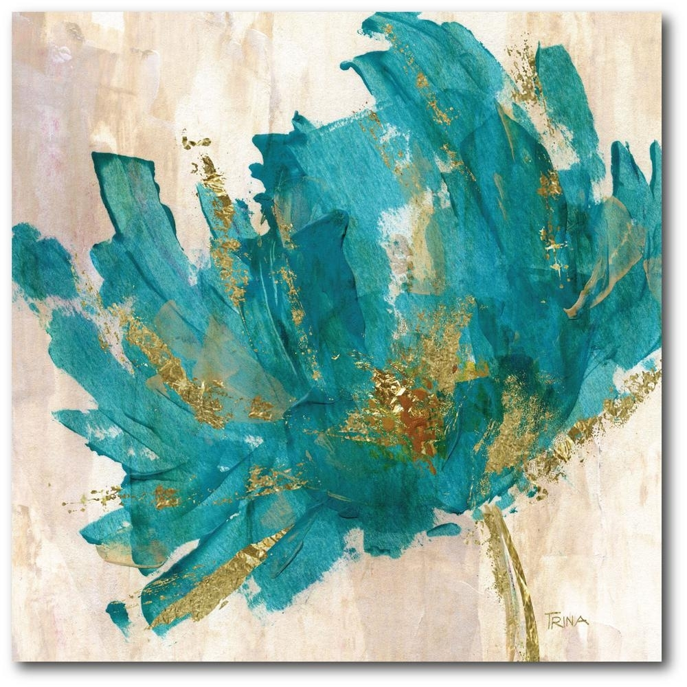 Contemporary Teal Flower Canvas Wall Art-Web-Ac180T - The Home Depot for Teal Wall Art (Image 7 of 20)