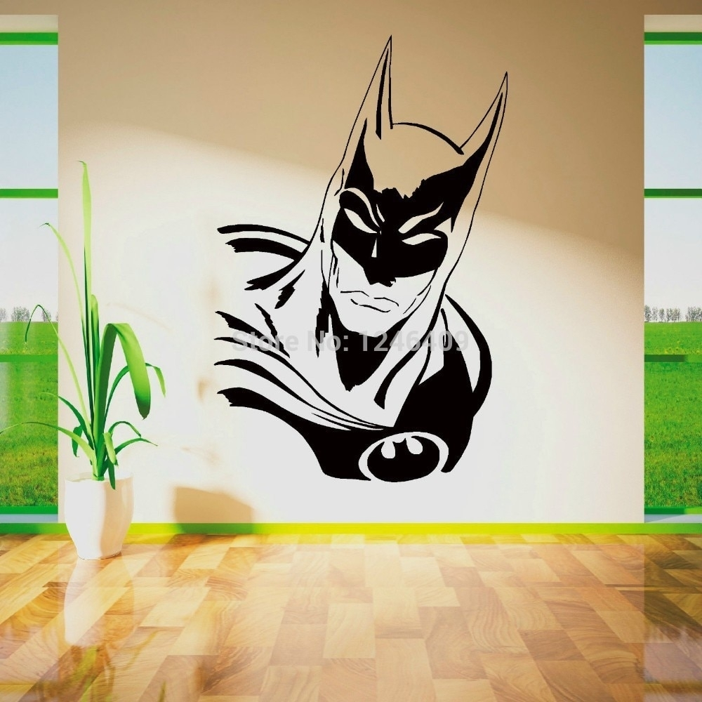 Cool Batman Superhero Vinyl Removable Wall Art Sticker Poster with regard to Superhero Wall Art (Image 4 of 20)