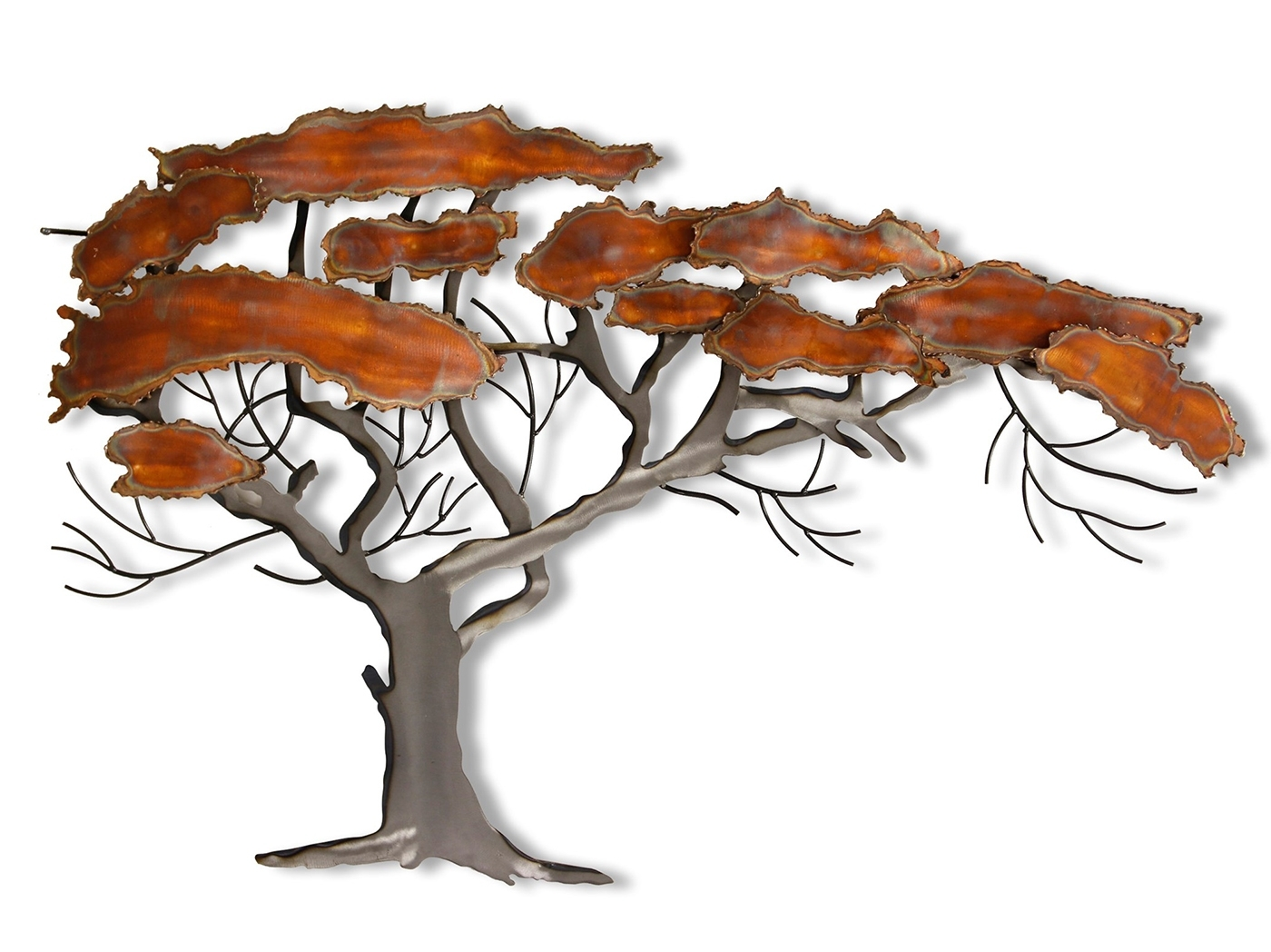 """Copper And Metal Tree Wall Art 27""""w X 43""""h 