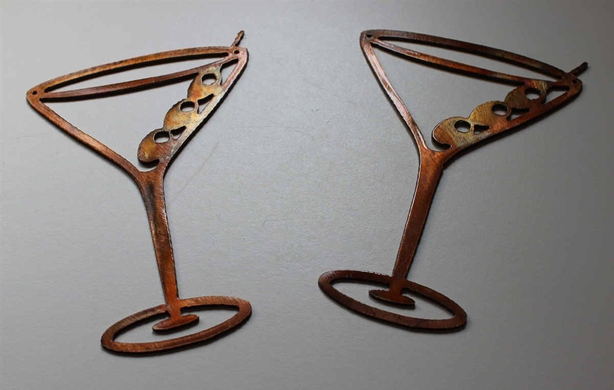 Copper/bronze Martini Glasses Metal Wall Art Decor Set Of 2 In Cheap Metal Wall Art (View 5 of 20)