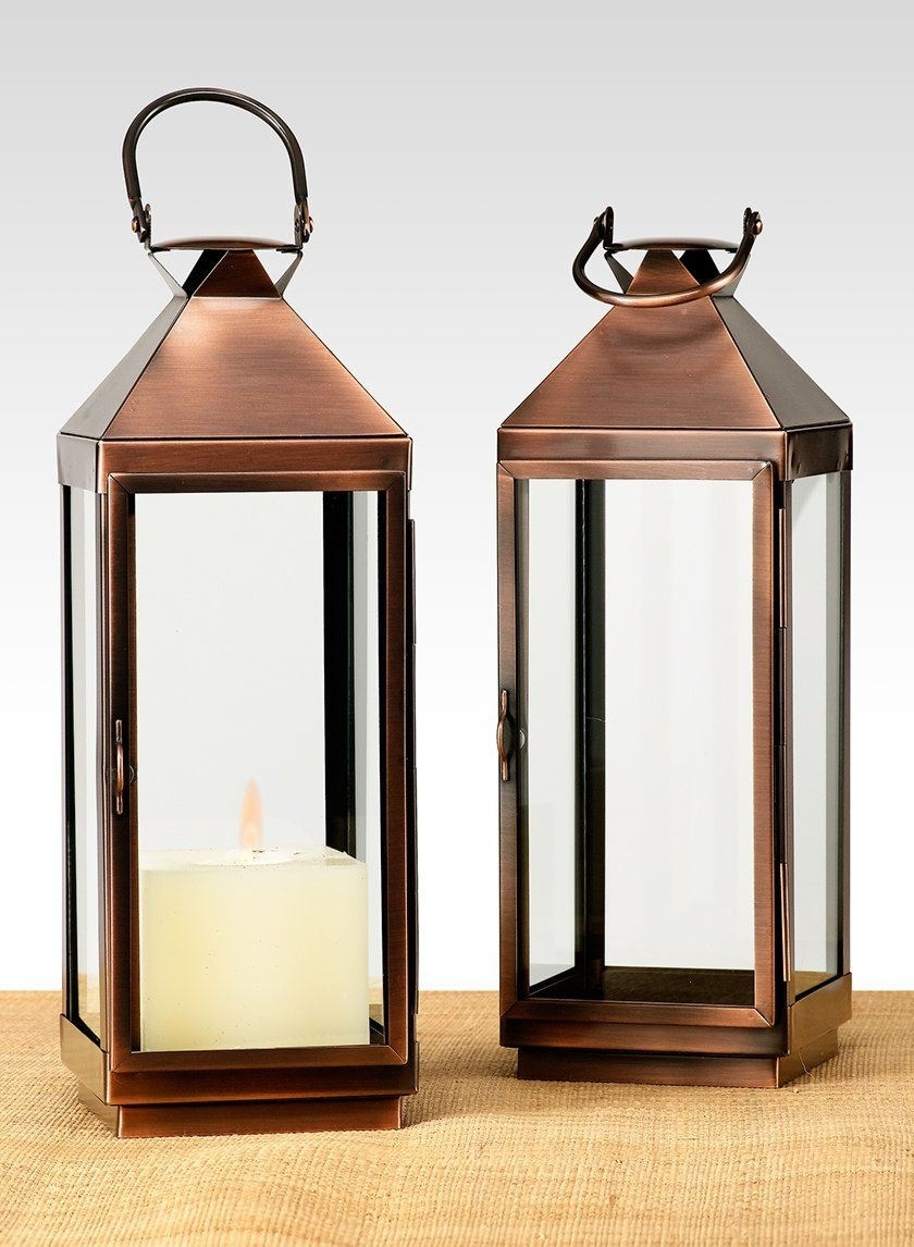 Copper Finish Steel Square Lantern - 12 In - Wholesale | Jamali Garden for Xl Outdoor Lanterns (Image 7 of 20)